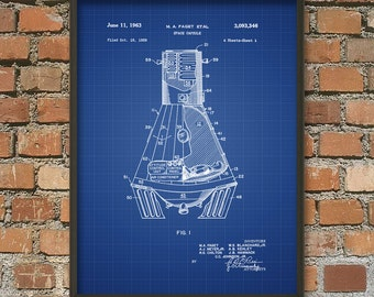 Mercury Space Capsule Patent Print #1 - NASA Spacecraft Patent Print - Space Travel - Space Exploration - Mercury Spacecraft Art Print