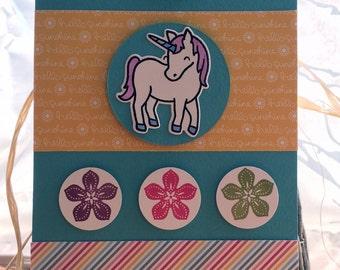 Handmade, Stamped, Unicorn Sunshine Greeting Card
