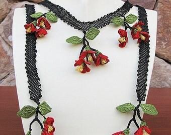 """Authentic Anatolian Needle Lace Pure Silk """"Akasya"""" Necklace"""
