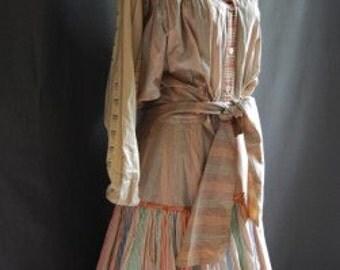 1970s KOOS Van den Akker 2 Pc Outfit Top Skirt Striped Patchwork Pilgrim Prairie