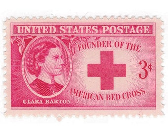1948 3c Clara Barton Red Cross - 10 Unused Vintage Postage Stamps - Item No. 967