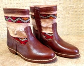 Handcrafted Moroccan White Kilim Boot in Brown Leather - Size 38
