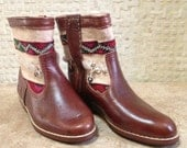 Handcrafted Moroccan White Kilim Boot in Brown Leather - Size 39