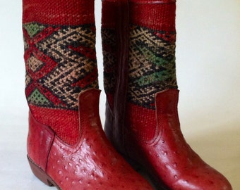 Handcrafted ostrich kilim boots