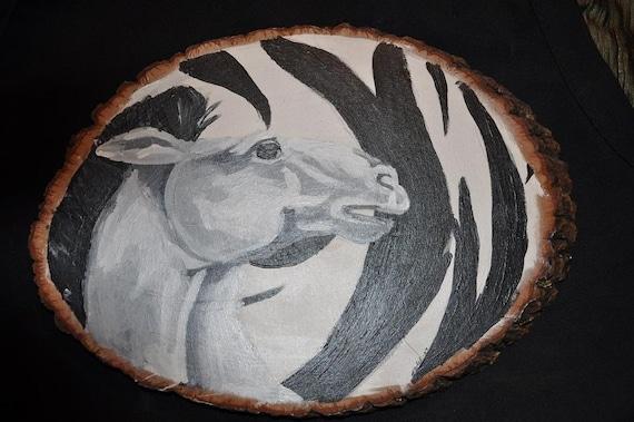 zebra acrylic painting tree wood black white. Black Bedroom Furniture Sets. Home Design Ideas