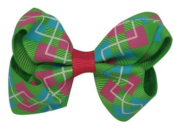 Plaid hair bow clip in  blue, hot pink, green with a hint of red ,unique hair clip,  flower bow, hair bow clip