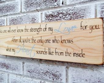 "Woodland Baby Nursery, rustic boys nursery rustic girl's nursery, Baby shower gift boy girl ""Strength of my Love"" quote sign, new baby"