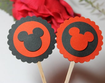 12pc Set of Cute Black and Red Mickey Mouse Cupcake Toppers