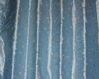 """Baby Blue Silk Dupioni Shantung w/ Embroidery 100% Silk Fabric, 54"""" Wide, By the Yard (EB-880)"""