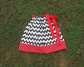 12- 18 Months Black, White and Red Pillowcase Dress