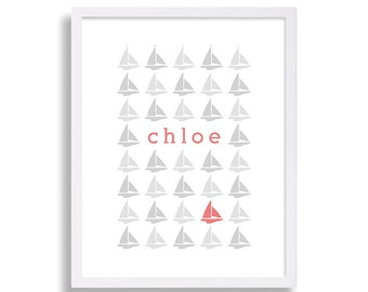 Baby Name Nursery Decor Nautical Nursery Print Sailboat Nursery Art Coral Nursery Grey Nursery 8x10 Print 11x14 Print 5x7 Print 16x20 Print