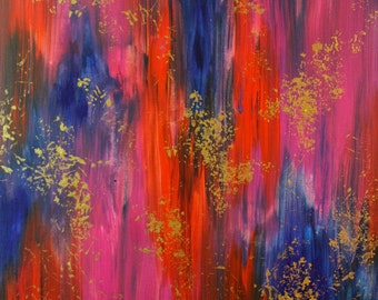 "24"" x 30"" Painting, Large Abstract Pink, Orange and Blue Acrylic Painting on Canvas, Ready to Hang"