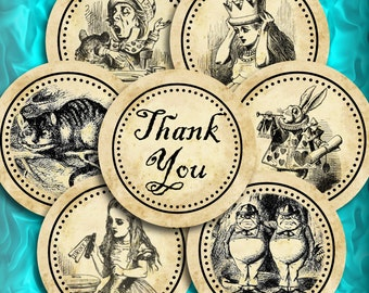 Thank You Alice in Wonderland Wedding Cupcake Toppers or Favor Circle Tags Printable Instant Download Digital Collage