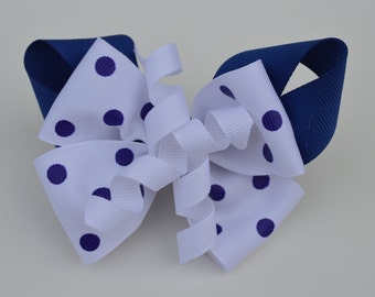 Blue & White Dotted Hair Bow
