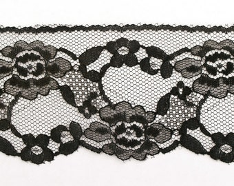 Vintage Black Lace Trim 3 yards 2 5/8 inches wide