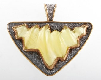 Amber Waves - Pendant - Sterling Silver and 24K Gold plating - Amber