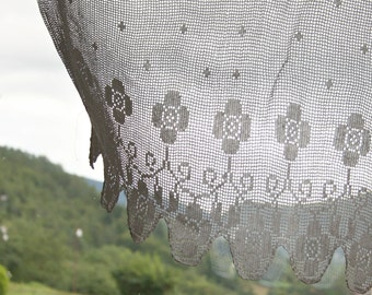 Lace filet crochet white curtains for the windows with floral pattern, italian decor