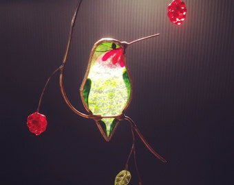 Hummingbird with Berries stained glass suncatcher