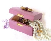 Trinket Box - Jewelry Box - Purple Lilac Radiant Orchid with Vintage Brooch