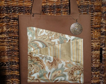Brown Canvas Tote with Diagonal Pattern Pocket & Charm