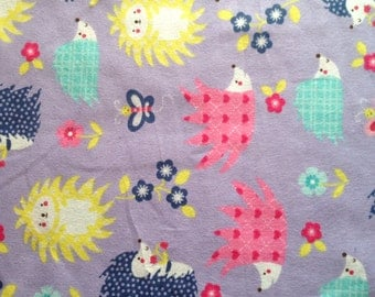Lavender Hedge Hog Flannel Fitted Sheet For Pack N Play