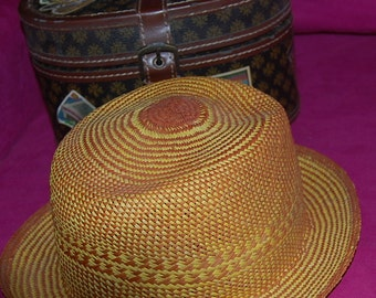 Authentic Panama Hat From Becal Yucatan-Gold Design-Made in Underground Cave