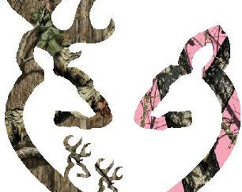 "6""  Browning style camo and pink camo heart shaped with 2 baby bucks decal sticker deer buck"