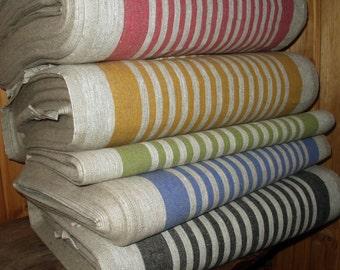 French Canvas pure Linen fabric Narrow strips Upholstery Decorator Ecru light Gray Heavy Weight ECO-friendly - custom yardage