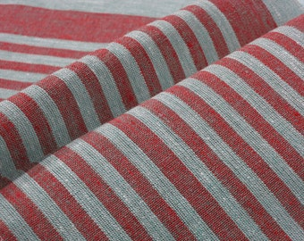 Red Narrow strips Reversible Decorator 100% Linen fabric Upholstery Ecru Grey French Heavy Weight ECO-friendly - custom yardage
