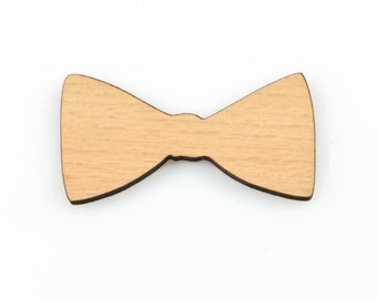 BOWTIE WOOD CUTOUT -  Bow Tie Laser Cut Natural Wood Cut-out With Free Brooch Pin (5.7cm x 3cm)