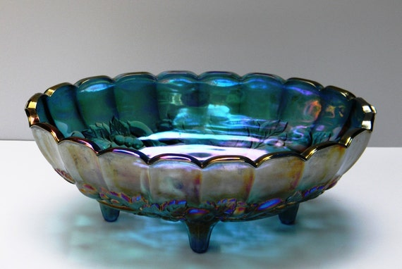 Vintage blue harvest carnival glass oval footed fruit bowl