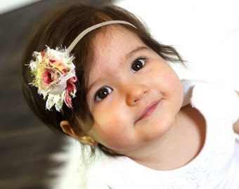 Floral flower headband  - vintage floral headband - single rosette - shabby chic headband - baby girl headband - photo prop