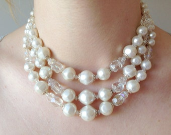 Vintage Triple Strand Pearl Necklace White & Clear Sparkle Beads Costume Jewelry