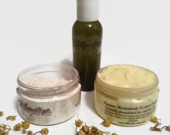Natural Eczema Relief Cream, Oil, Bath Kit