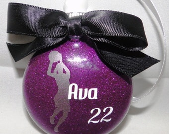 Personalized Sports Basketball Girl Christmas ornament - Custom team colors name and number
