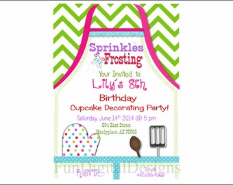 Apron Cupcake Decorating Birthday Party invitation, printable, digital file, apron, Girl