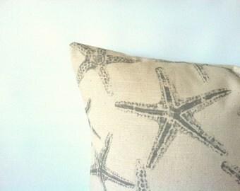 Nautical Starfish Pillow Cover - 20 x 20, Beach Pillow, Taupe Grey Natural, Ocean Decor, Starfish Pillow, Beach Decor, Starfish Cushion