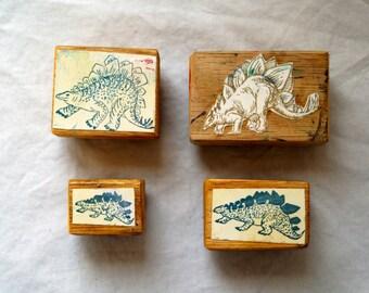 Set of Dinosaur Rubber Stamps - Stegosaurus Stamps