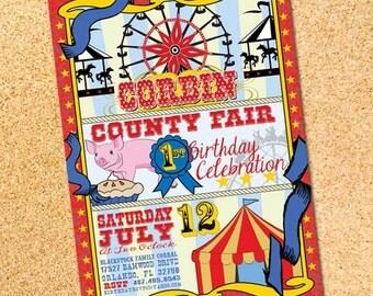 County Fair - Carnival - Birthday Party Invitation - Customizable - Printable - DIY