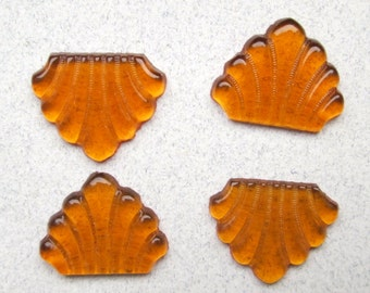 4 Vintage Amber Glass Cabochons