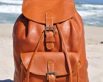 Tan Genuine Leather Backpack