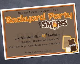 Printable Birthday Invitation - S'Mores Backyard Party - Customize