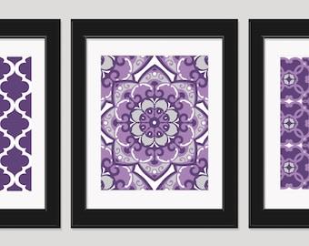 Purple Wall Art Bedroom Art Set Of 3 Prints Purple Art