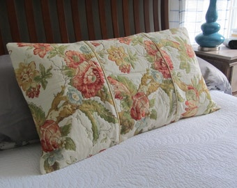 Ooak Vintage King Size Pillow Sham Cottage Shabby Chic
