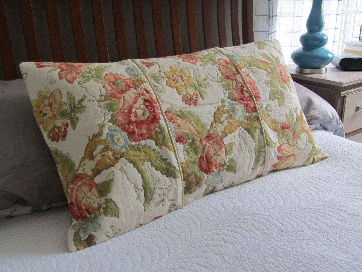 Ooak Vintage King Size Pillow Sham Cottage Shabby Chic Quilted