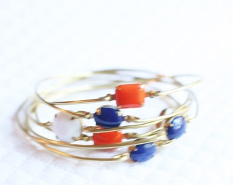 Girl's Auburn Jewelry, Girl's Auburn Bangle Set, War Eagle Stackable Bangles, Blue and Orange Bangles, AU Bangles, Auburn Bracelets
