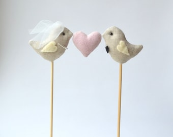 Love Birds Wedding Cake Topper - Bride and Groom with Pink Heart
