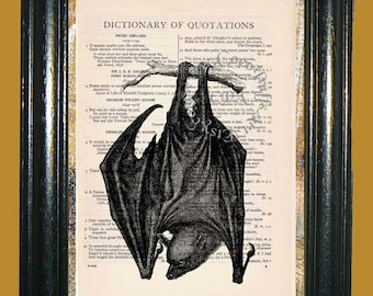 Hanging Bat - Vintage Dictionary Book Page Art Print Upcycled Page Art Mixed Media Art Bat Print