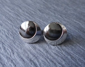 Chic Sterling Silver Stud Earrings, Silver Post Earrings, Two Toned, Layered Circle Design, Silver Moon