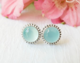 Chalcedony Stud Earrings, Aqua Blue Sterling Silver Stud Earrings, Polished Silver, Seafoam Green Gemstone Stud Earrings, Everyday Earrings